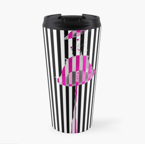 Luxury Travel Mug Pink Lipstick Travel Mug Cult Art Fusion