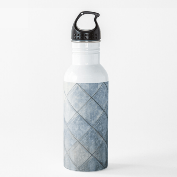 Luxury Water Bottle Grey Diamonds Water Bottle Cult Art Fusion