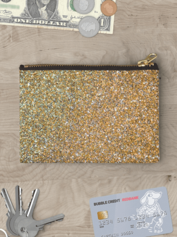 Luxury Zipper Pouch Gold Glitter Zipper Pouch Cult Art Fusion