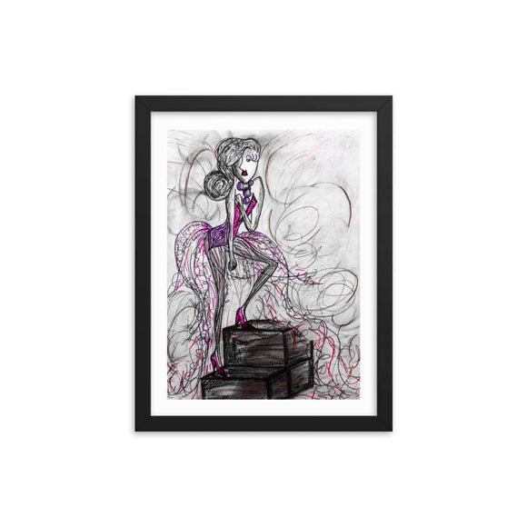 Power Mauve Wooden Framed Print Cult Art Fusion