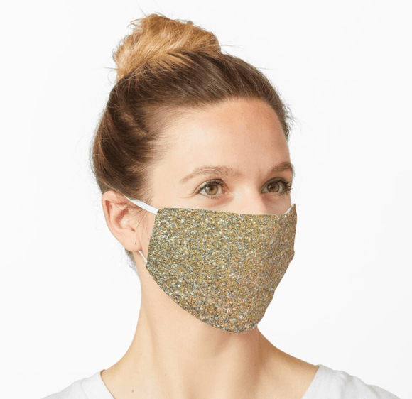 Premium Mask 2/3 Layer Gold Glitter Print Mask Redbubble