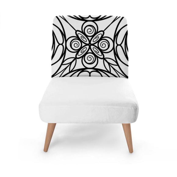 White Stained Glass Print Occasional Chair Occasional Chair Cult Art Fusion