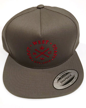 Most West Coast Apparel Grey Snapback with Full logo in Red