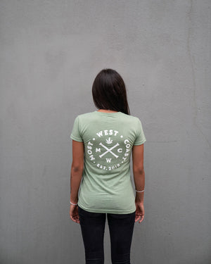 Most West Coast Apparel Women's Green T-shirt Busy Back