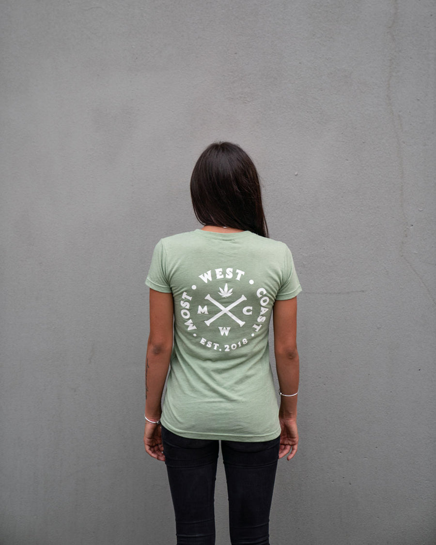 Most West Coast Apparel Women's Green T-shirt Front