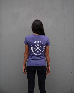 Most West Coast Apparel Women's Purple T-shirt Busy Back