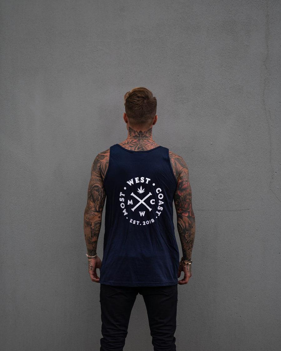Most West Coast Apparel Men's Navy Tank Front