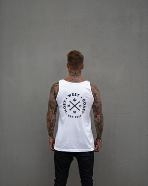 Most West Coast Apparel Men's White Tank Logo Back
