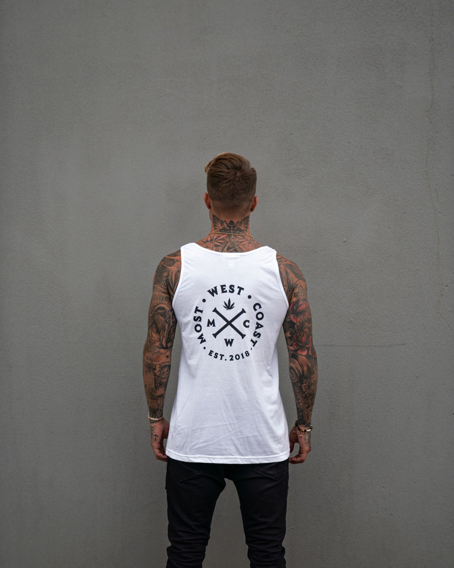 Most West Coast Apparel Men's White Tank Front