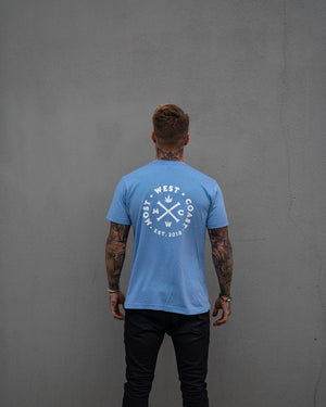 Most West Coast Apparel Men's Blue Tee Logo Back