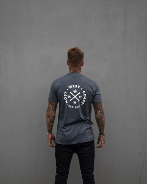 Most West Coast Apparel Men's Grey T-shirt logo back