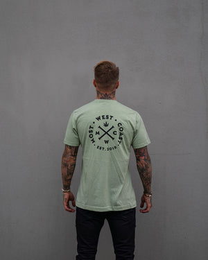 Most West Coast Apparel Men's Green T-shirt logo back