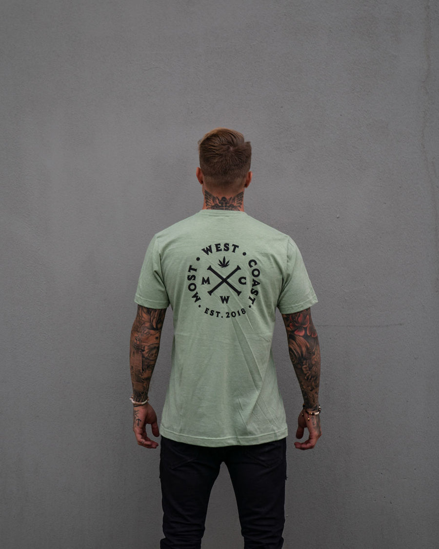 Most West Coast Apparel Men's Green T-shirt Front