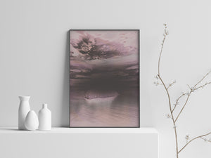 island abstract black matte acrylic frame