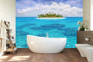 bathroom island with a beach wall wrap by wallzrus decor