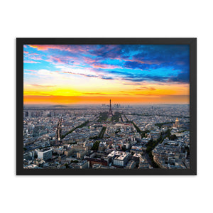 Black Matte Acrylic Frame - Paris Skyline  - Black Matte Frames  - WallzRus Decor