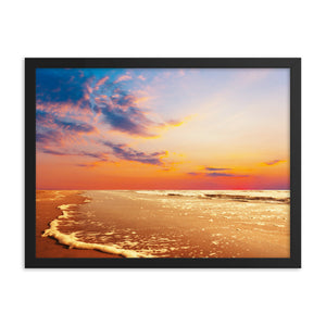Black Matte Acrylic Frame - Sunset on a Beach  - Black Matte Frames  - WallzRus Decor