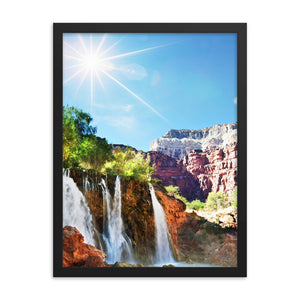 Black Matte Acrylic Frame - Eye Catching Waterfall  - Black Matte Frames  - WallzRus Decor
