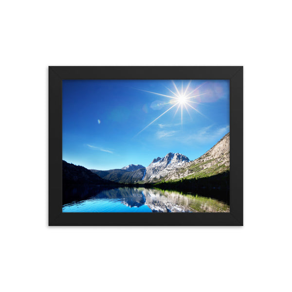 Black Matte Acrylic Frame - Gorgeous Mountain Lakeview  - Black Matte Frames  - WallzRus Decor
