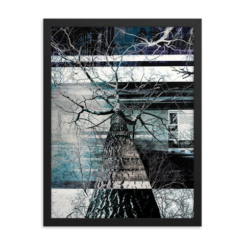 Black Matte Acrylic Frame - Abstract Tree Design