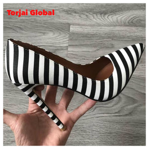 2020 Black White Zebra Pattern Lady Shoes