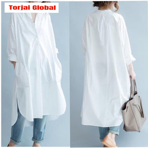 2020 White Cotton Loose Casual  Shirt