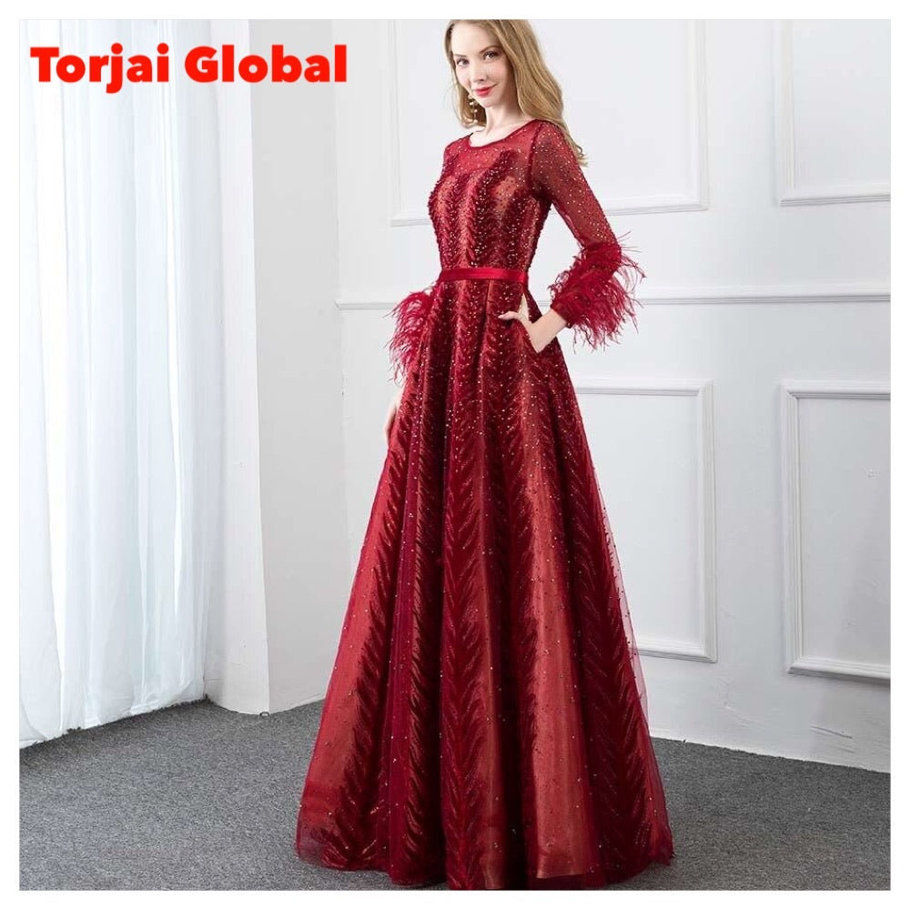 Wine Red Full - Sleeve Velvet Evening Dress