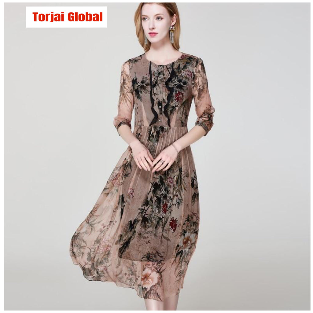 100% Silk Women's Printed Dress  2020