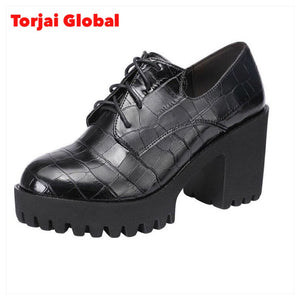 Deep Mouth Leather Oxford Shoes For Ladies