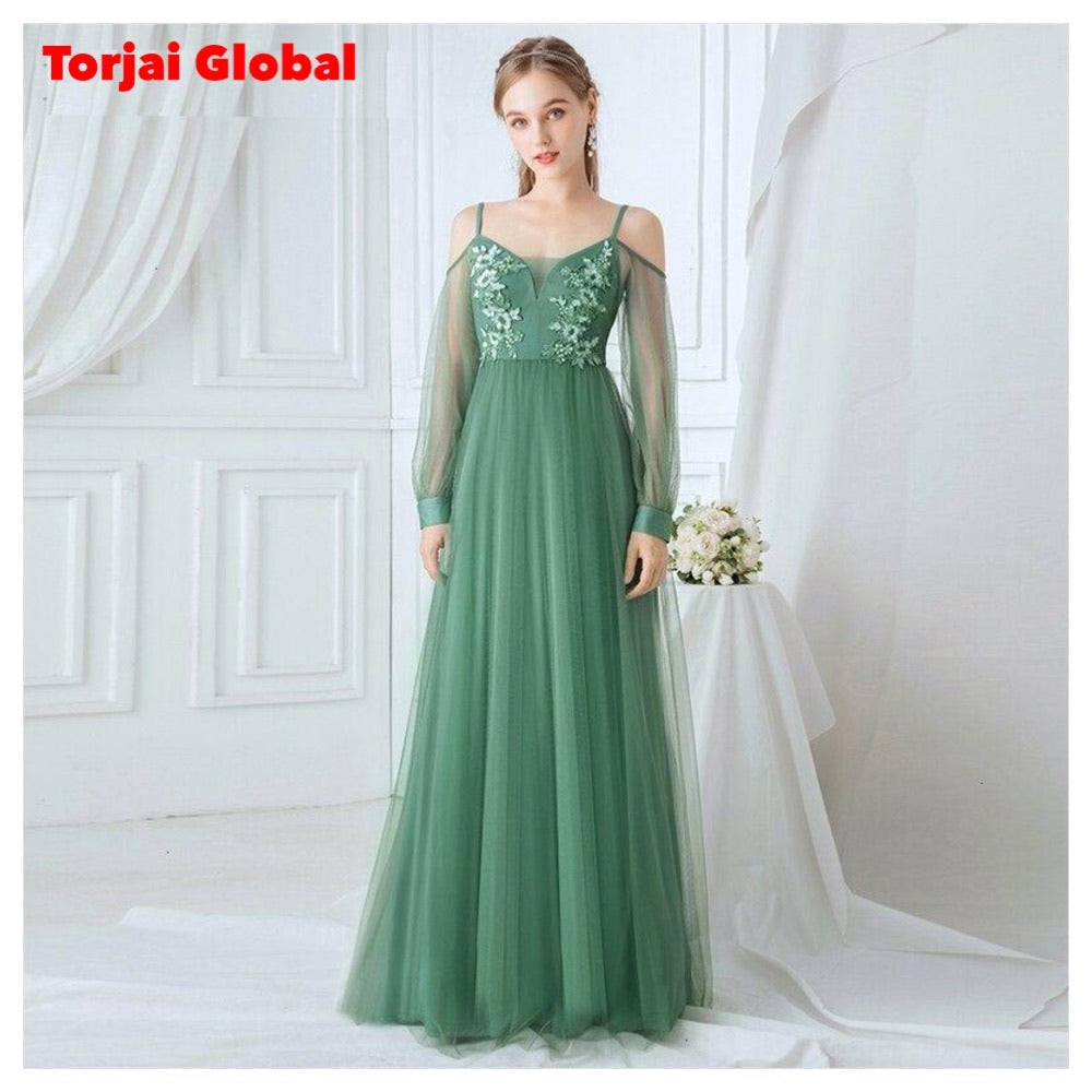 Elegant Green A-Line V-Neck Wedding Dresses