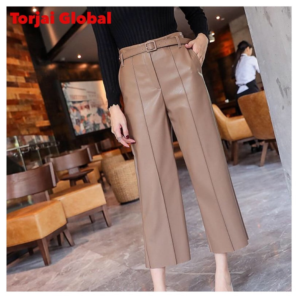 Women's Leather High Waist Pants With Belt