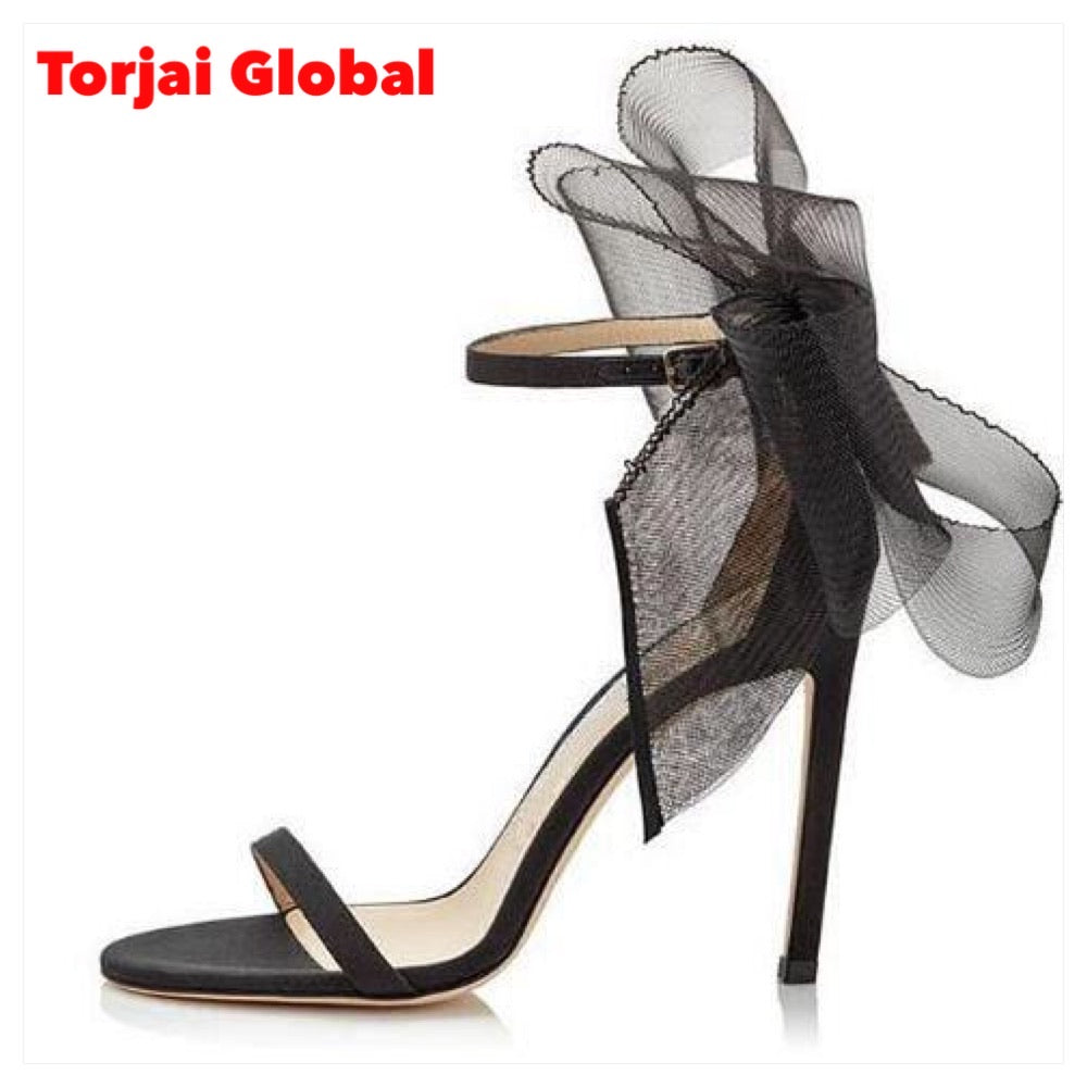 Lace Bow Ribbon Sandals