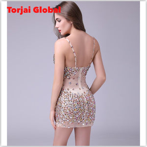 Luxurious crystal  Beaded Women's  Party Dress