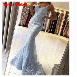 Blue Lace Formal Party Gowns for New Year 2021