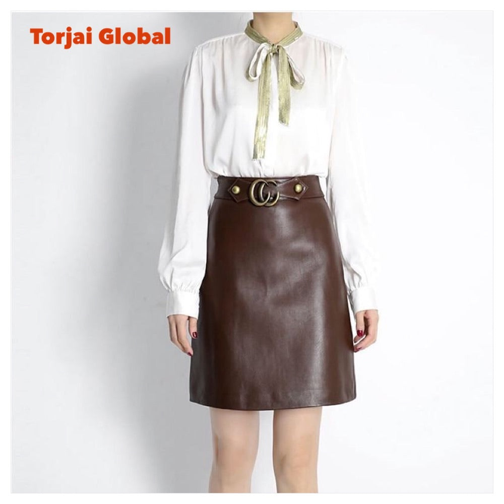 Women Short Skirt 100% Natural Sheepskin Genuine Leather