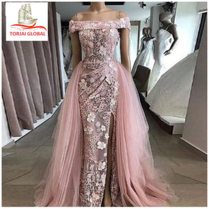 Real Image Dubai Pink Applique Lace Evening Dresses 2020