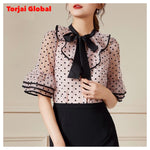 New 2020 Women's Bow Collar Polka Dot Print Blouses