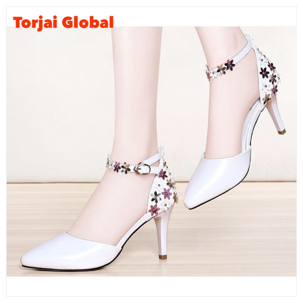 Leather Buckle Strap Ladies Casual  High Heel
