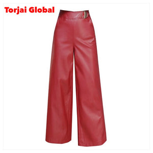 Wide-Leg Leather Pants For Ladies
