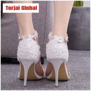 Women Pearl Lace Wedding Shoes
