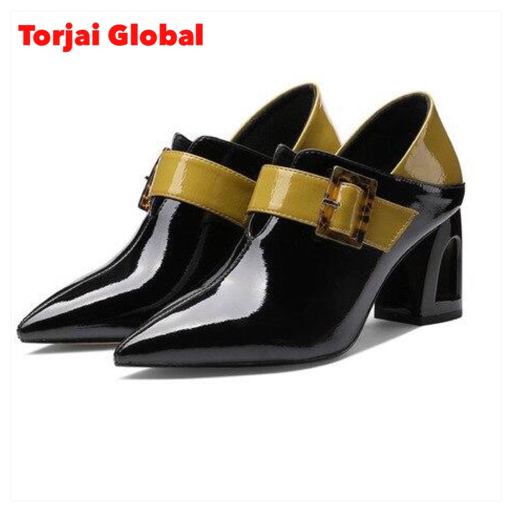 Women's  Mixed Colors Leather Shoes