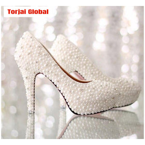 Luxurious Pearl Rhinestone Wedding Shoes