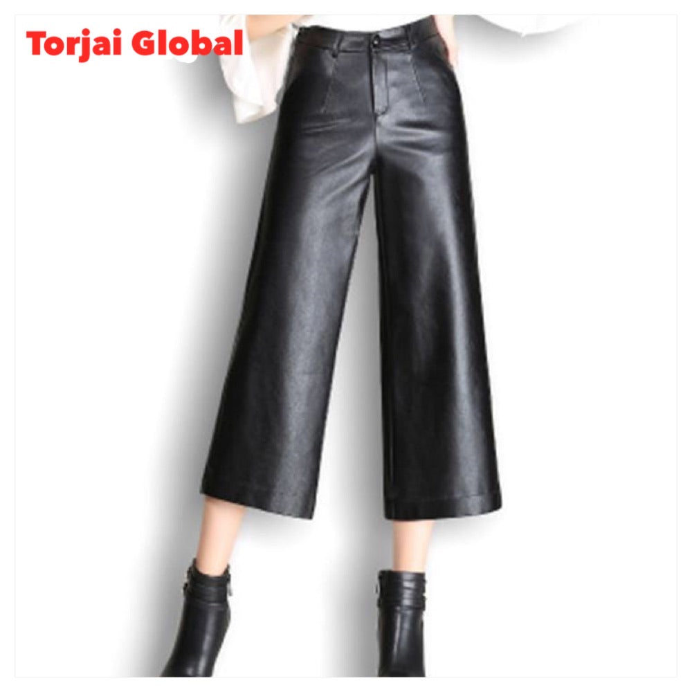 wide leg straight leather pants