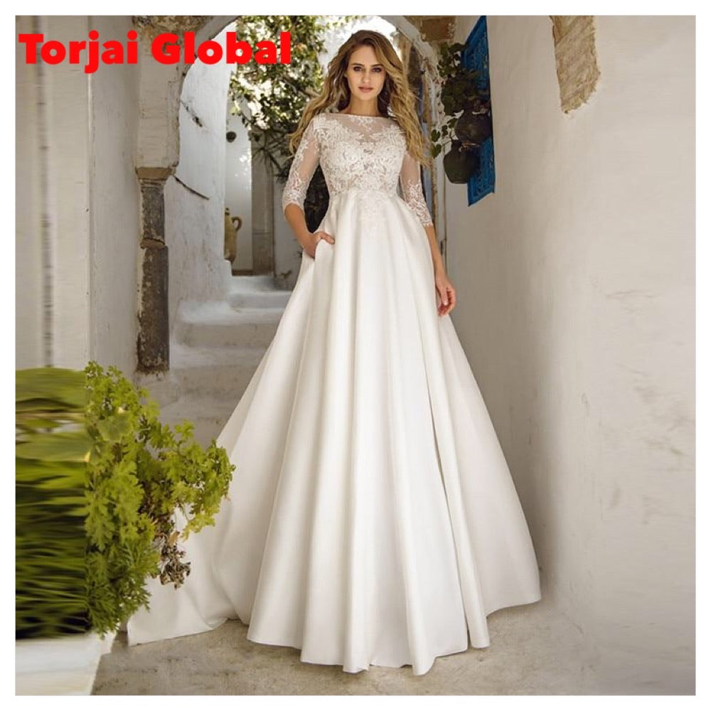 Quarter Lace Sleeves Women Wedding Dress