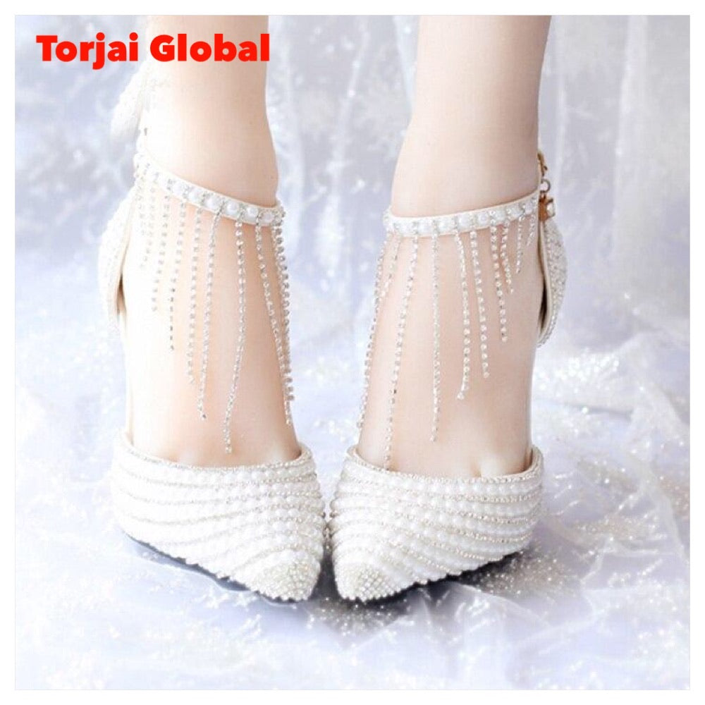 White Pearl Wedding Shoes