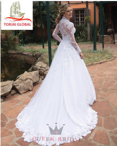 Custom Made A-line Long Sleeve Elegant Wedding Dress  2020