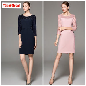 Pink and  Dark Blue High Quality Party Dresses