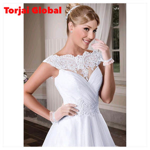 Short Sleeves Lace Appliques Wedding Dress