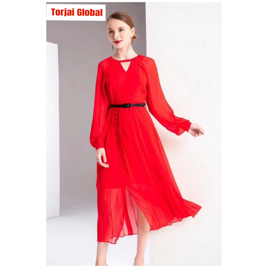 High Quality Women's Elegant Red Black Dress