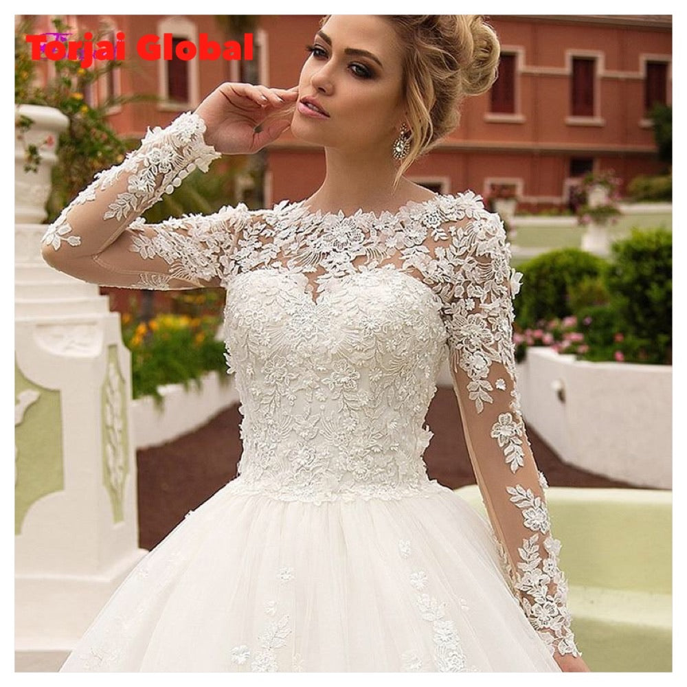 New Charming Appliques Long Sleeves A-Line Wedding Dresses